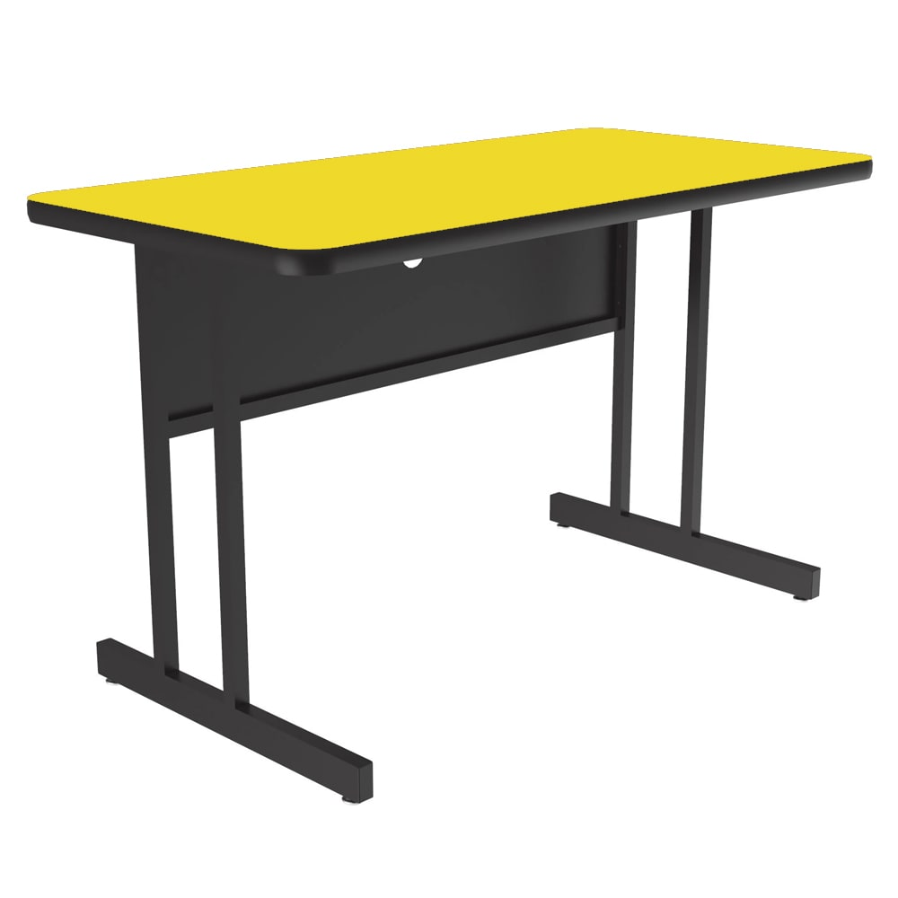 "Correll WS2436 28 29"" Desk Height Work Station w/ 1.25"" Top, 24 x 36"", Yellow/Black"
