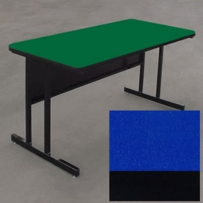 "Correll WS2460 27 29"" Desk Height Work Station w/ 1.25"" Top, 24 x 60"", Blue/Black"