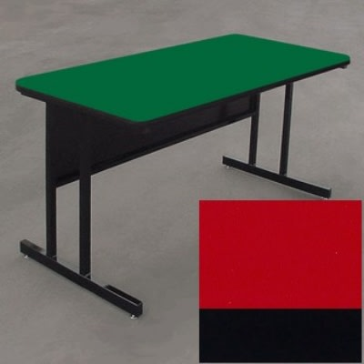 "Correll WS3048 25 29"" Desk Height Work Station w/ 1.25"" Top, 30 x 48"", Red/Black"