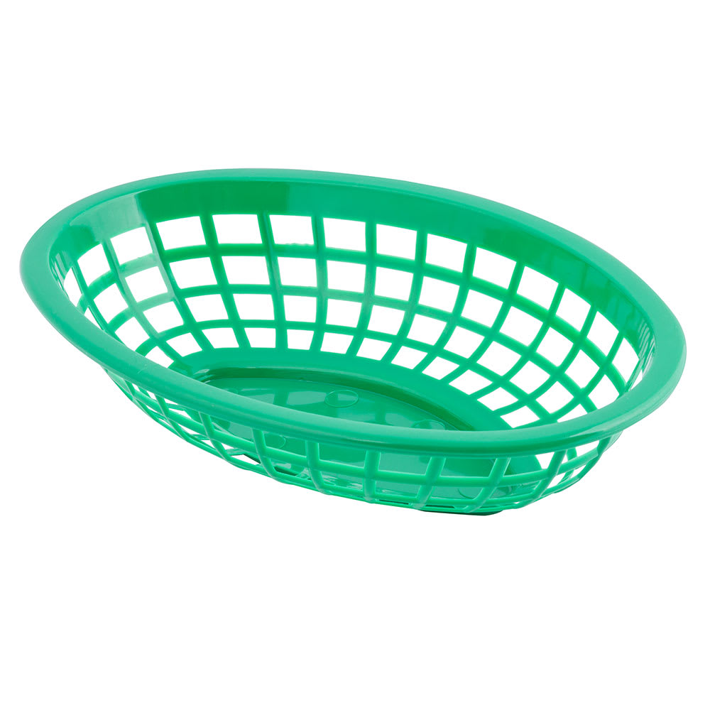 "Tablecraft 1071G Oval Side Order Basket, 7.73 x 5.5 x 1 7/8"", Green"
