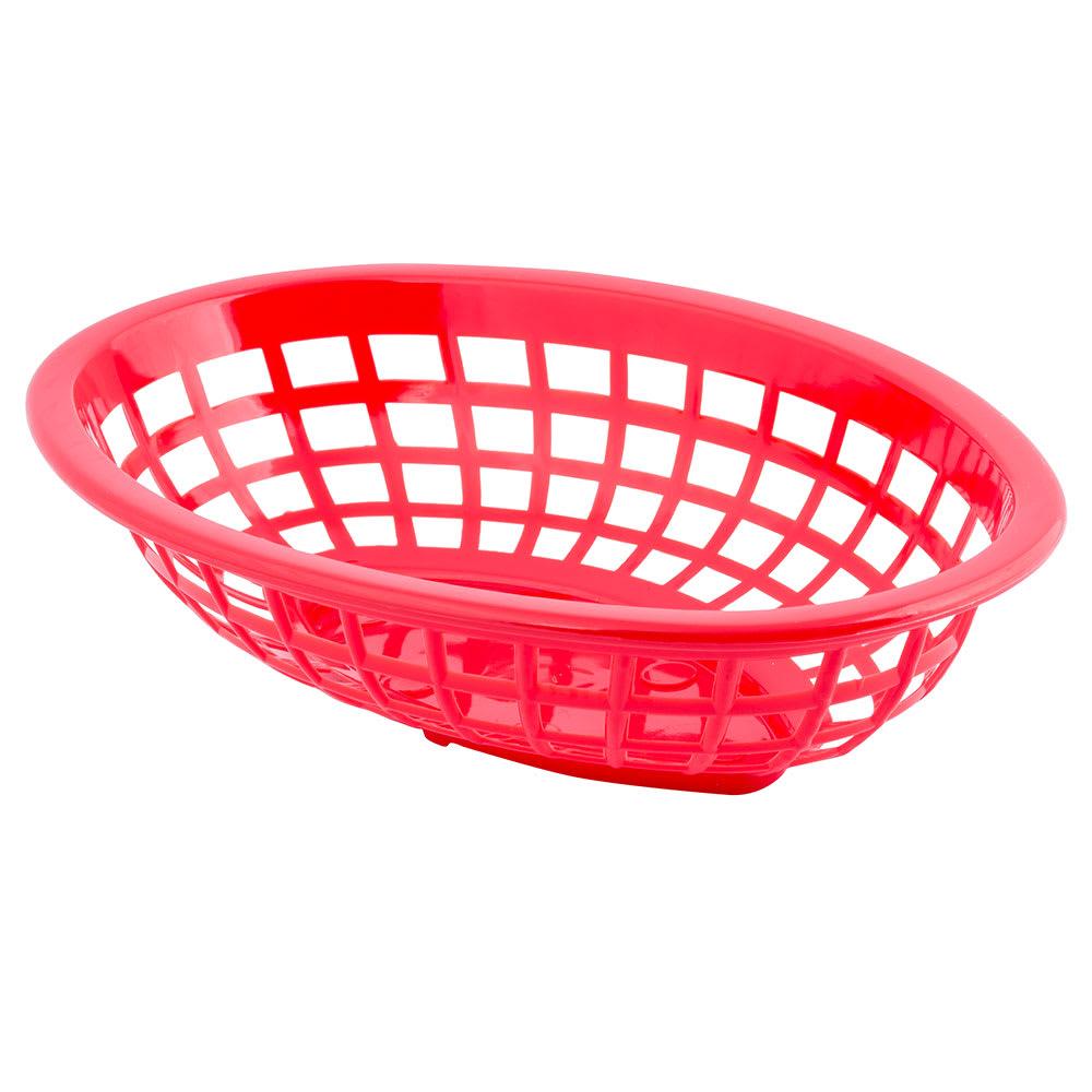 "Tablecraft 1071R Oval Side Order Basket, 7.73 x 5.5 x 1-7/8"", Red"