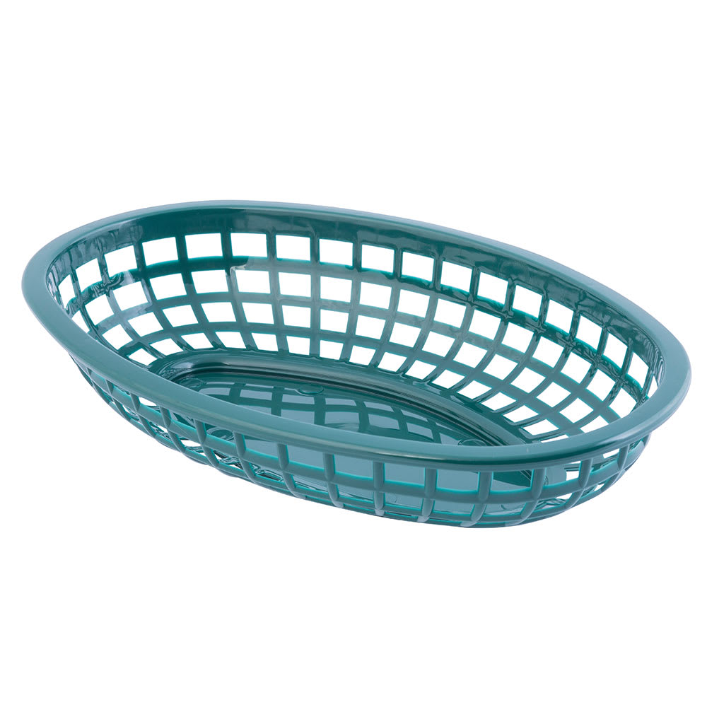 "Tablecraft 1074FG Classic Basket, 9 3/8 x 6 x 1 7/8"", Polyethylene, Oval, Forest Green"