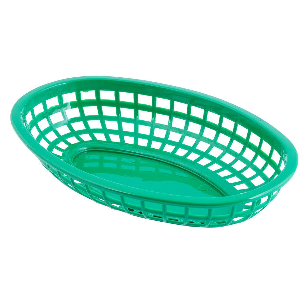 "Tablecraft 1074G Classic Basket, 9 3/8 x 6 x 1 7/8"", Polyethylene, Green"