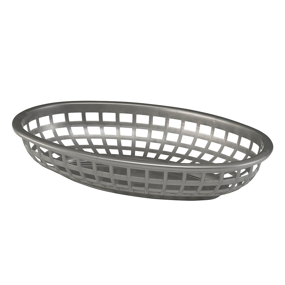 """Tablecraft 1074GM Classic Oval Basket, 9 3/8 x 6 x 1 7/8"""", Poly, Gunmetal"""