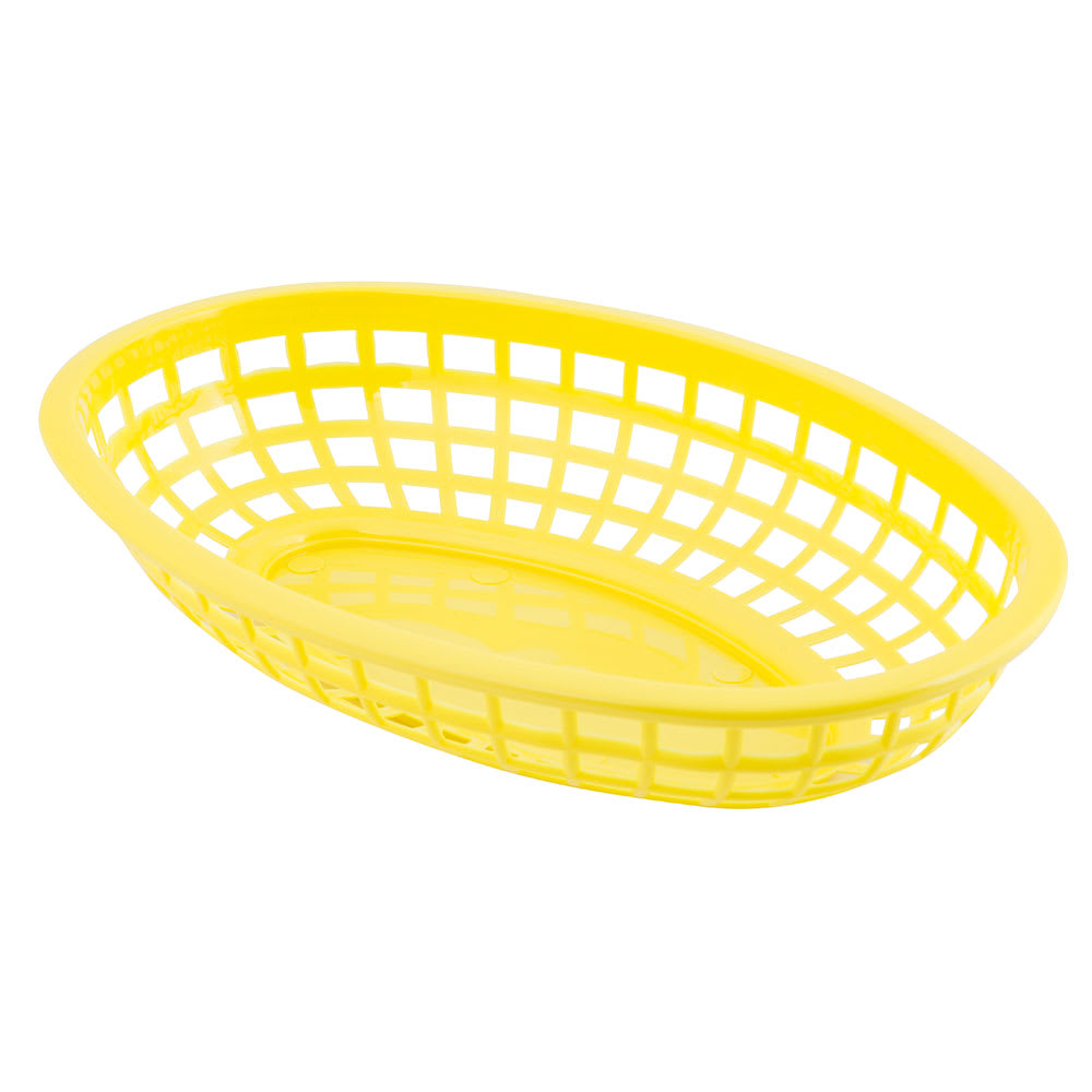 "Tablecraft 1074Y Classic Basket, 9-3/8"" X 6"" X 1-7/8 in, Oval, Poly, Yellow"