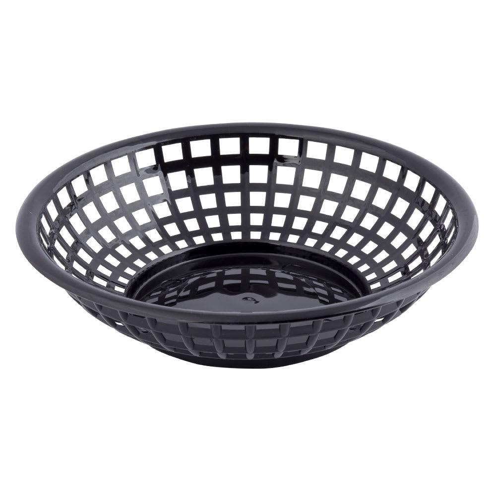 """Tablecraft 1075BK Round Serving Basket, 8"""" x 2-3/8"""", Poly, Black"""