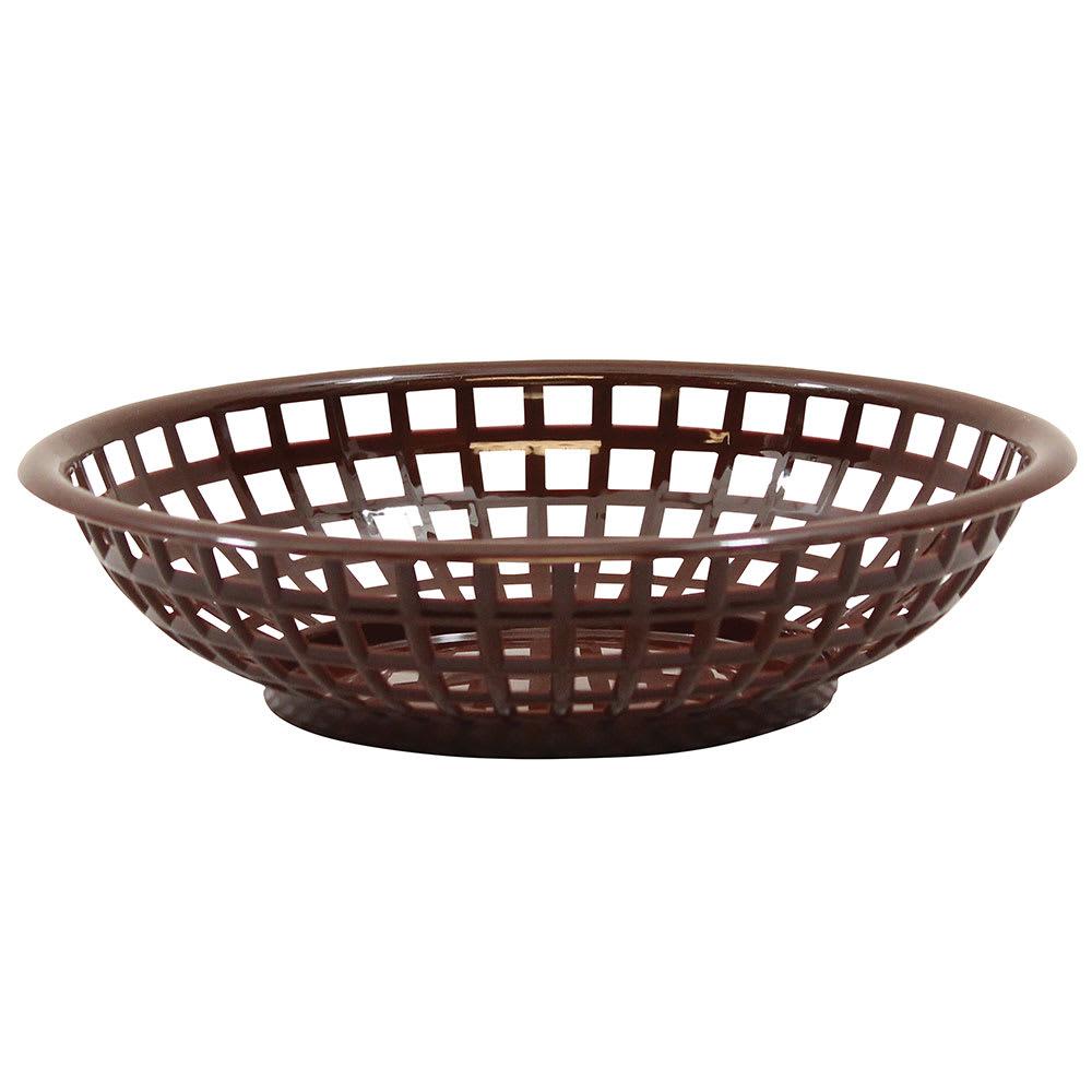 Tablecraft 1075BR Round Serving Basket, 8 x 2-3/8-in, Poly, Brown
