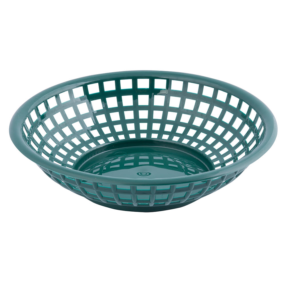 "Tablecraft 1075FG Round Serving Basket, 8 x 2-3/8"", Poly, Forest Green"