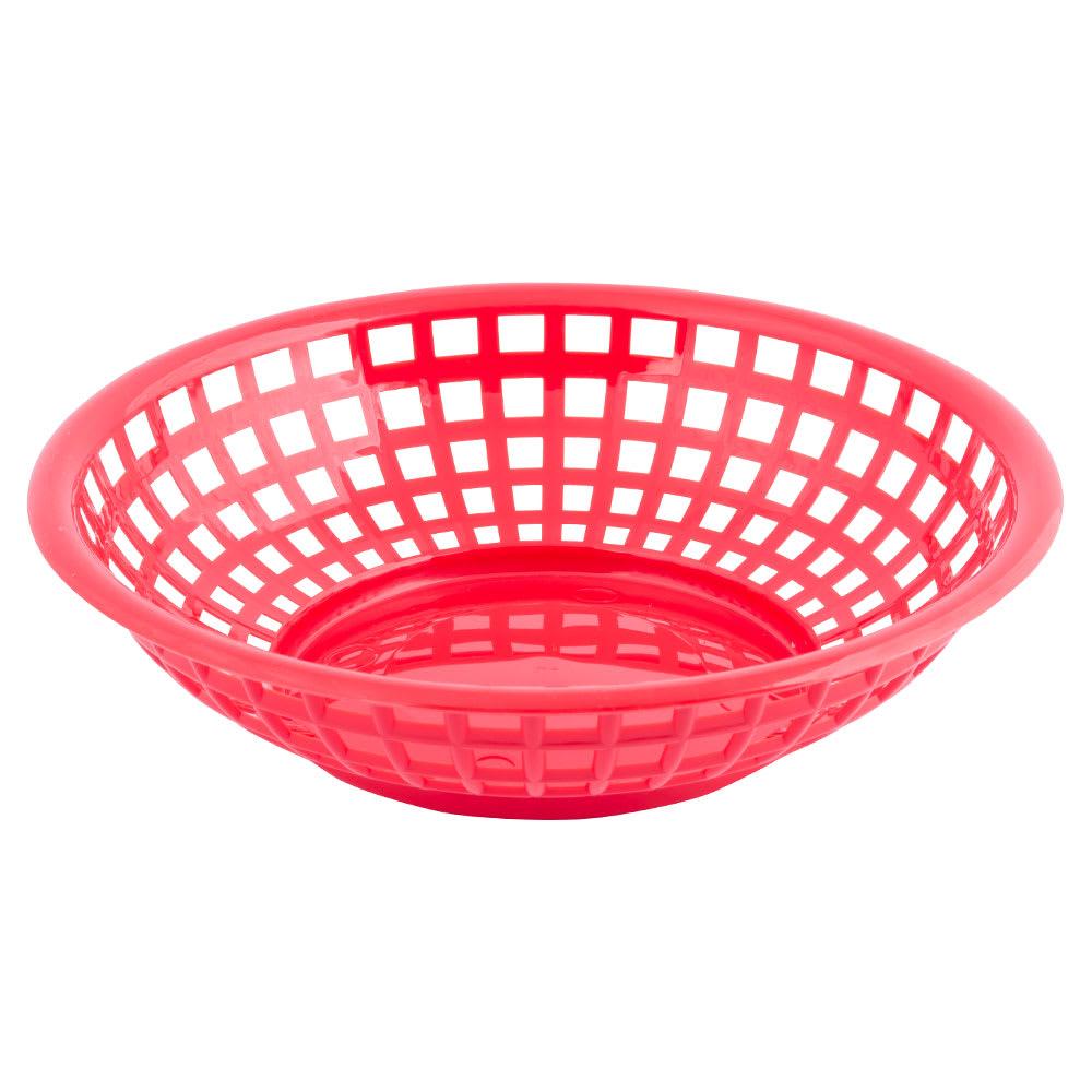 """Tablecraft 1075R Round Serving Basket, 8 x 2 3/8"""", Poly, Red"""
