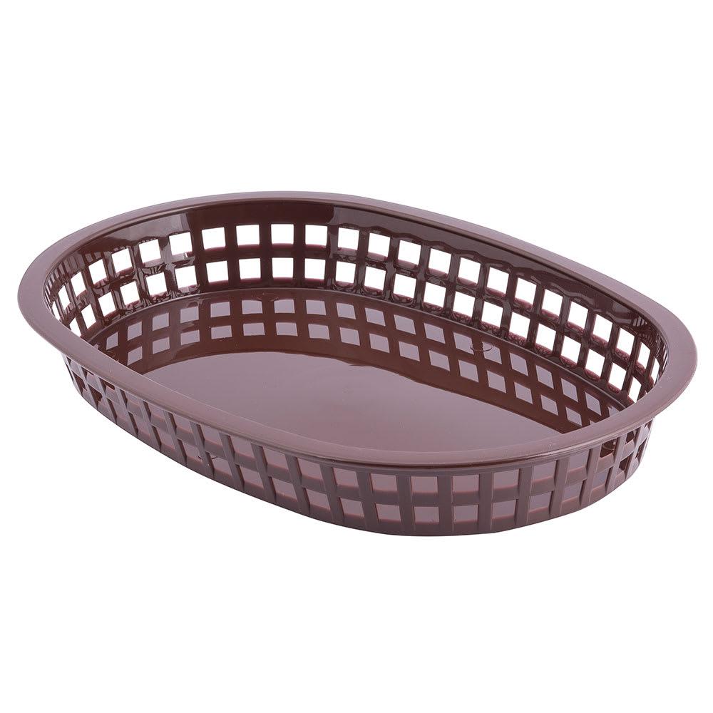 """Tablecraft 1076BR Chicago Platter Basket, 10.5 x 7 x 1.5"""", Oval, Brown"""