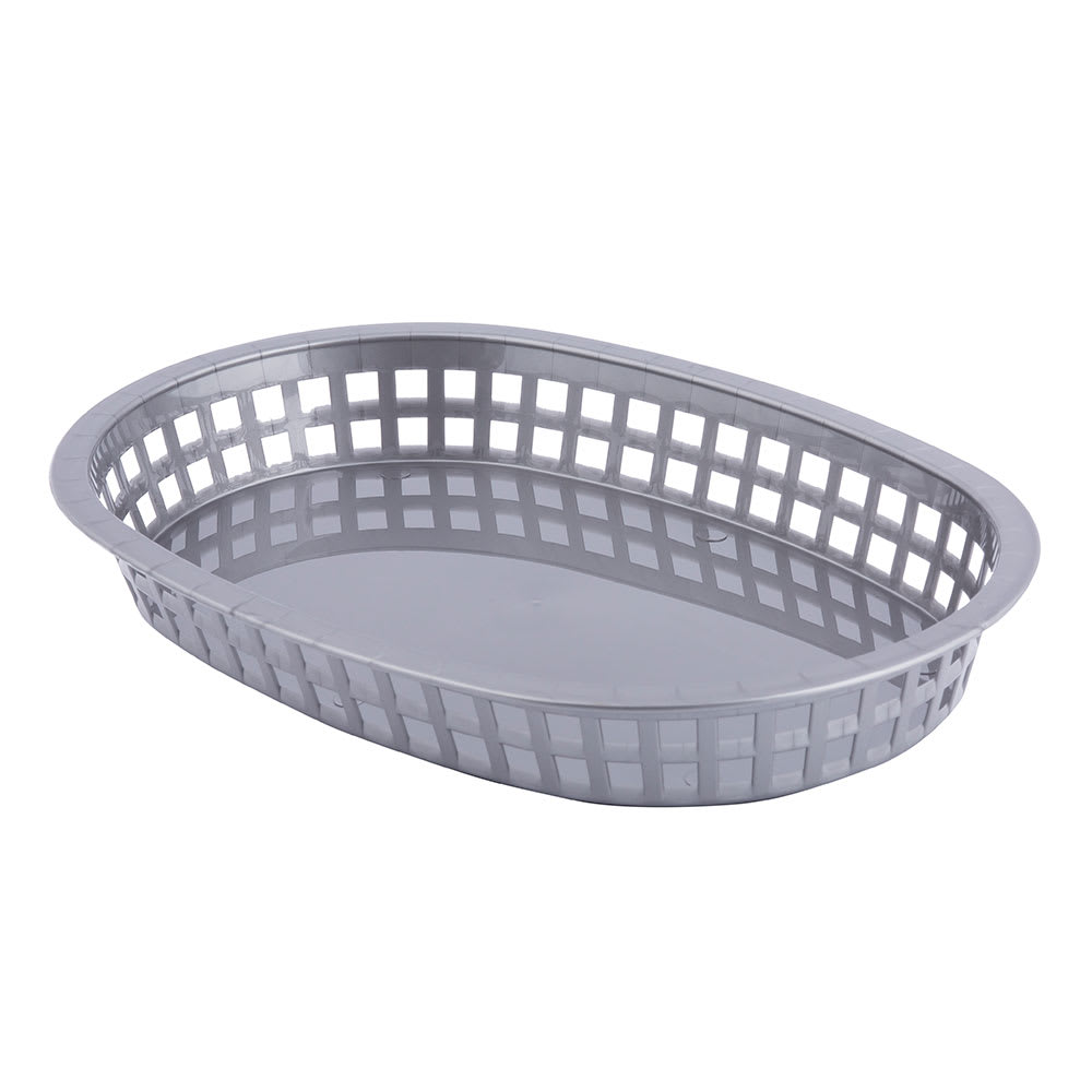 "Tablecraft 1076GM Oval Platter Basket, 10.6 x 7 x 1.5"", Poly, Gunmetal"