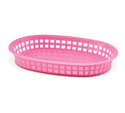 Tablecraft 1076P Oval Platter Basket, 10.5 x 7 x 1.5-in, Poly, Pink