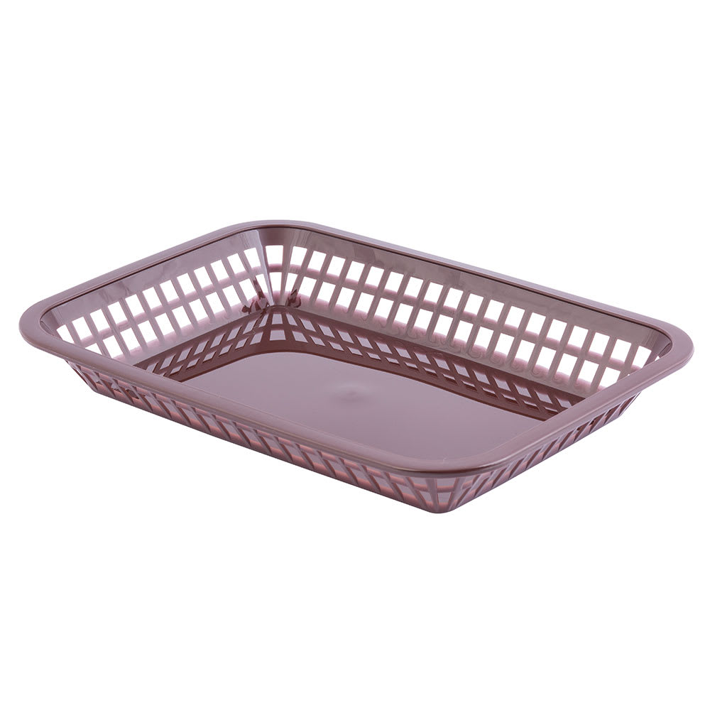 "Tablecraft 1077BR Platter Basket, 10.75 x 7.75 x 1.5"", Polypropylene, Brown"