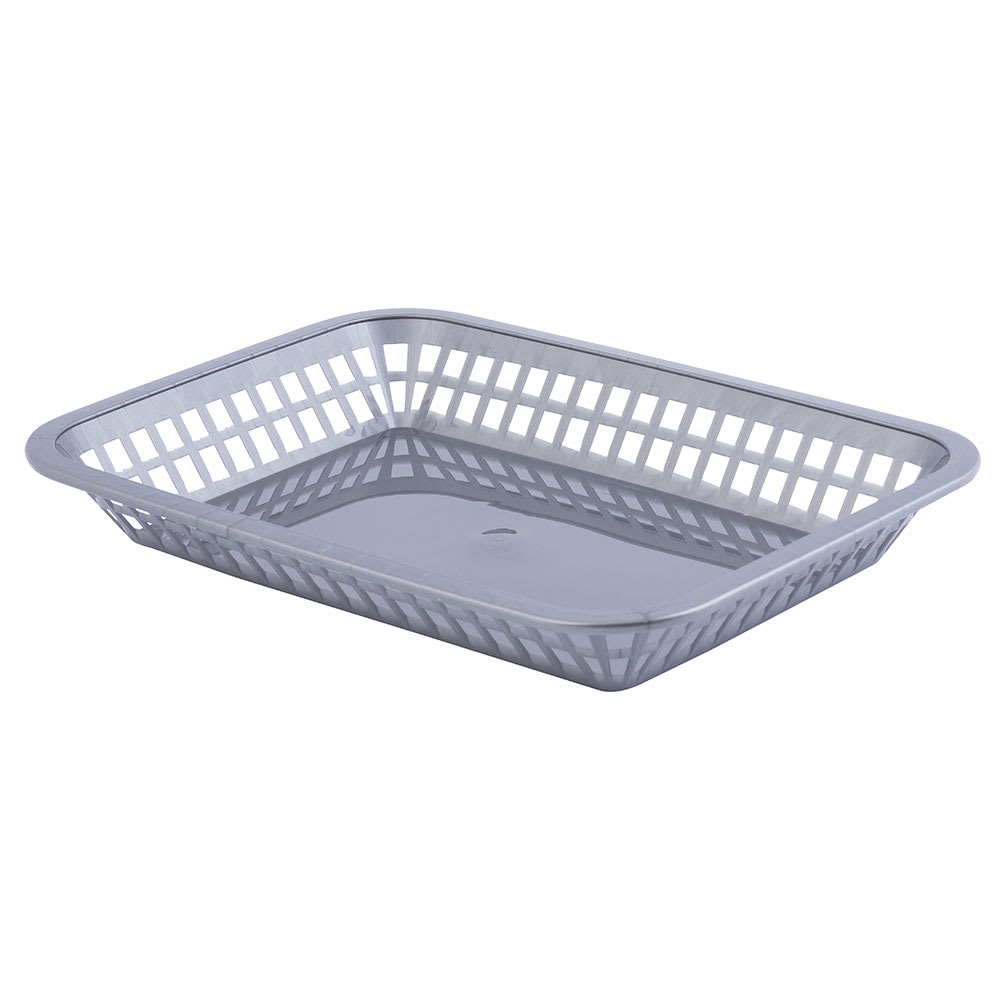 "Tablecraft 1077GM Rectangular Platter Basket, 10.75 x 7.75 x 1.5"", Poly, Gunmetal"