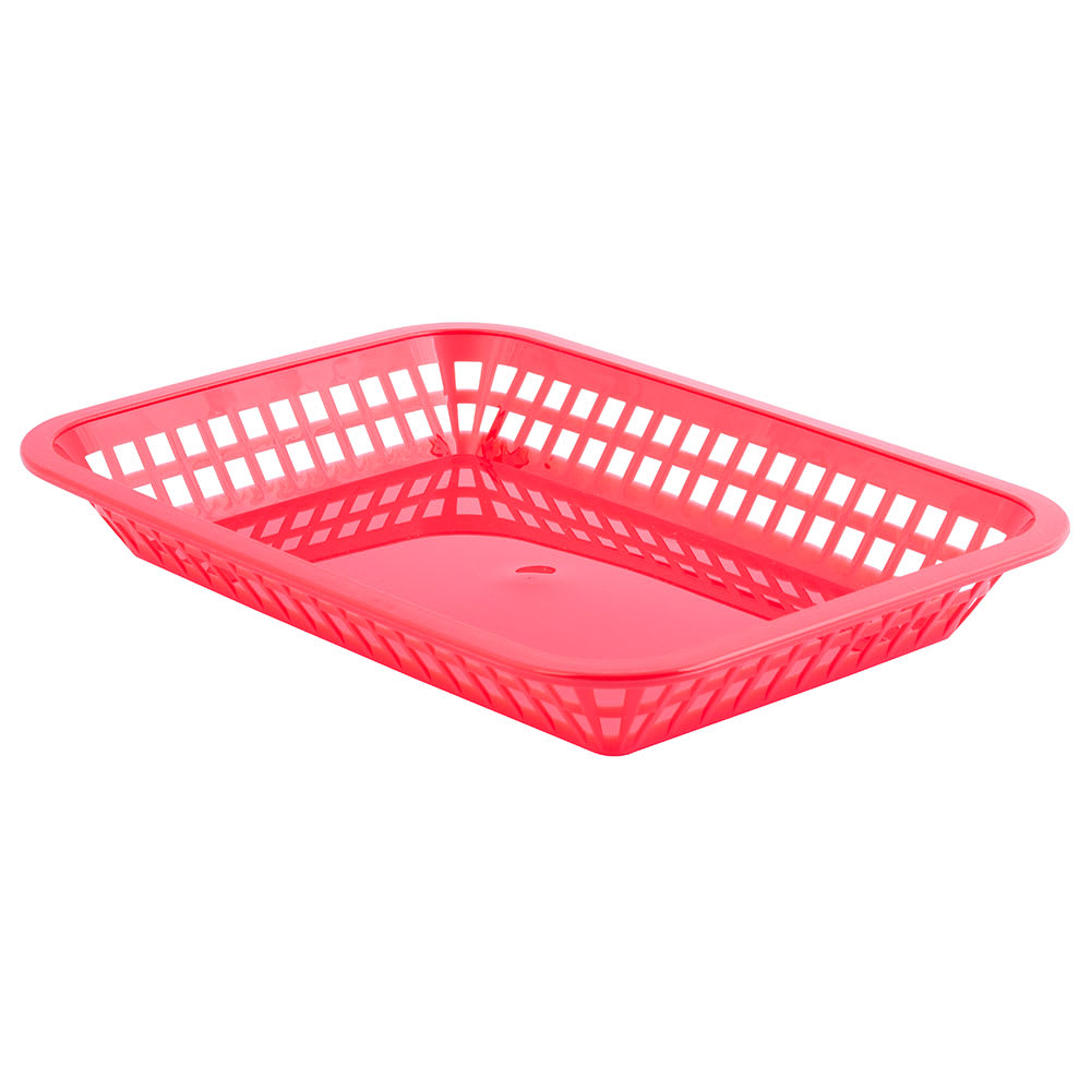 Tablecraft 1077R Platter Basket, 10 3/4 x 7 3/4 x 1 1/2 in, Rectangular, Red