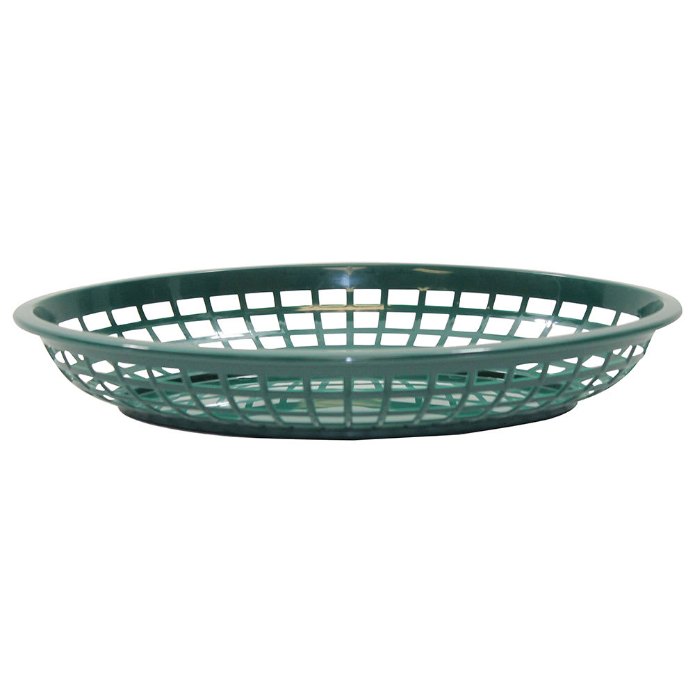 "Tablecraft 1084FG Jumbo Basket, 11.75 x 8-7/8 x 1-7/8"", Oval, Forest Green"