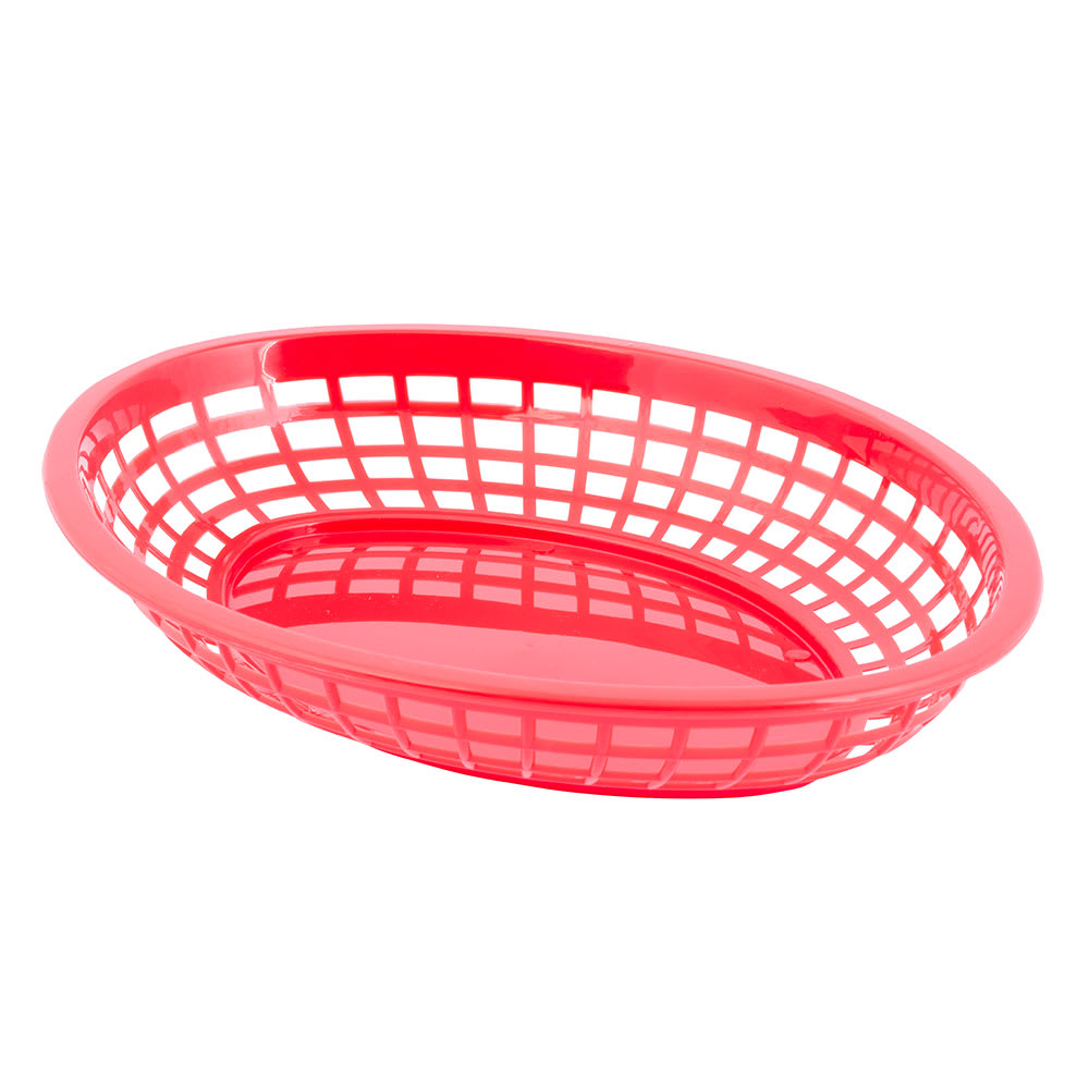 "Tablecraft 1084R Jumbo Basket, 11.75 x 8-7/8 x 1-7/8"", Oval, Red"