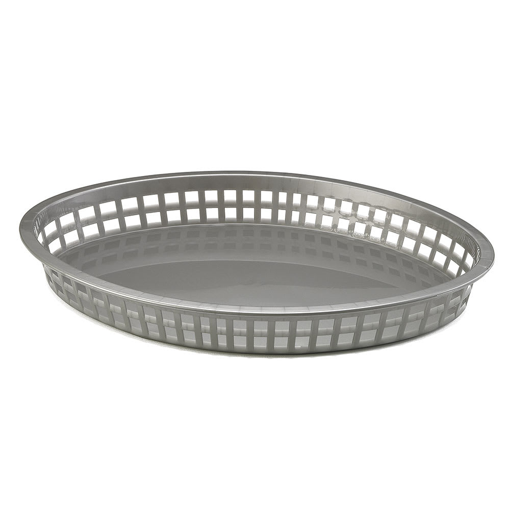 Tablecraft 1086GM Oval Platter Basket, 12.75 x 9.5 x 1.5-in, Poly, Gunmetal