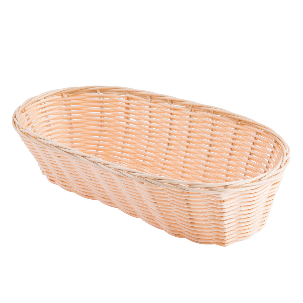 "Tablecraft 1113W Handwoven Basket, 13 x 5 x 3"", Polypropylene, Oblong"