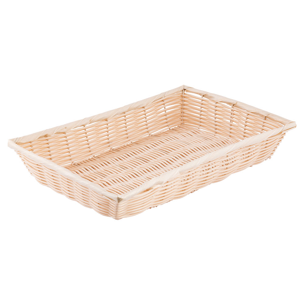 "Tablecraft 1189W Handwoven Basket, 16 x 11 1/4 x 3"", Polypropylene Cord, Natural"