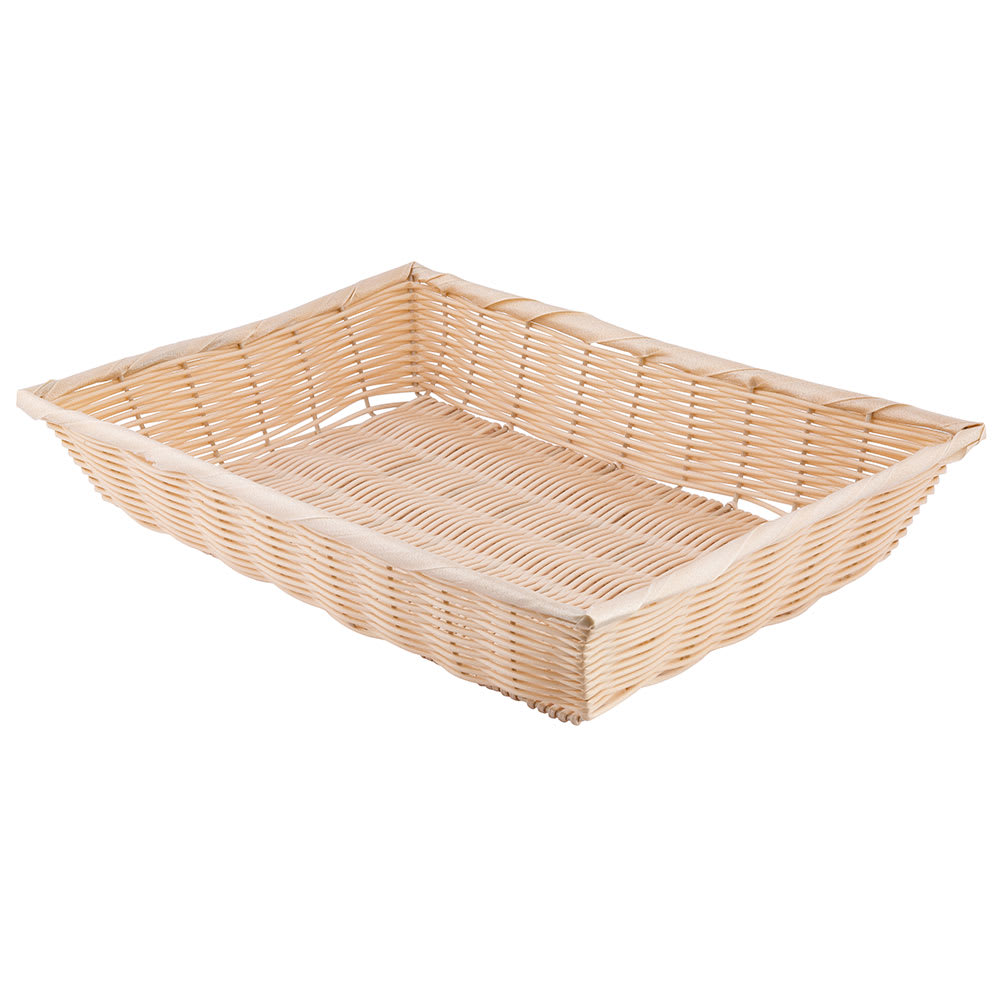 "Tablecraft 1192W Handwoven Basket, 18 x 12-1/2 x 3"", Polypropylene Cord, Natural"