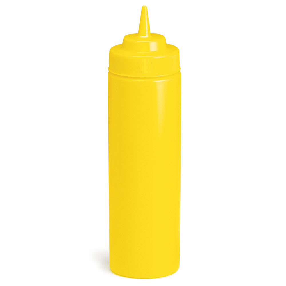 Tablecraft 12463M Wide Mouth Squeeze Dispenser, 24 oz, Polyethylene, Yellow Cap