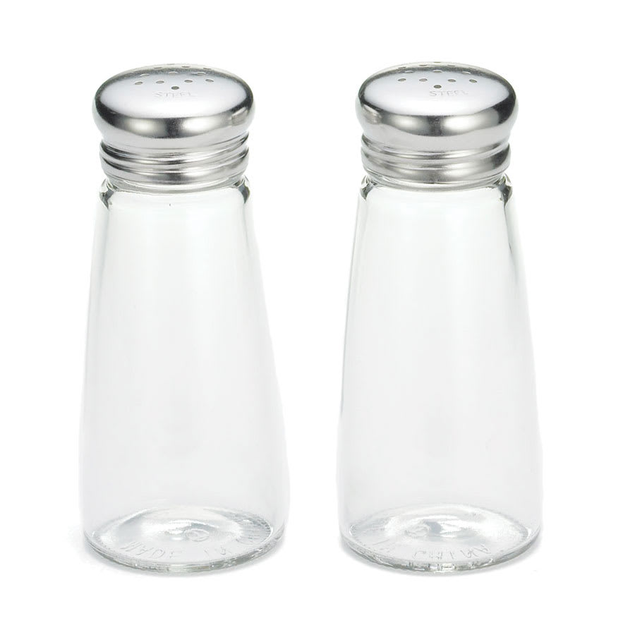 Tablecraft 132S&P 3 oz Shaker for Salt/Pepper - Metal Lid, Round
