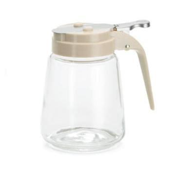 Tablecraft 1371A Syrup Dispenser, 12 oz., Glass, Almond Top