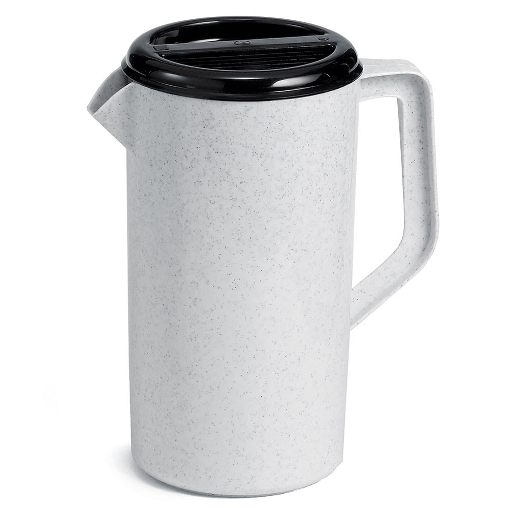Tablecraft 144GRT 2 1/2 Quart Pitcher, Plastic, White, 3 Way Sanitary Black Lid