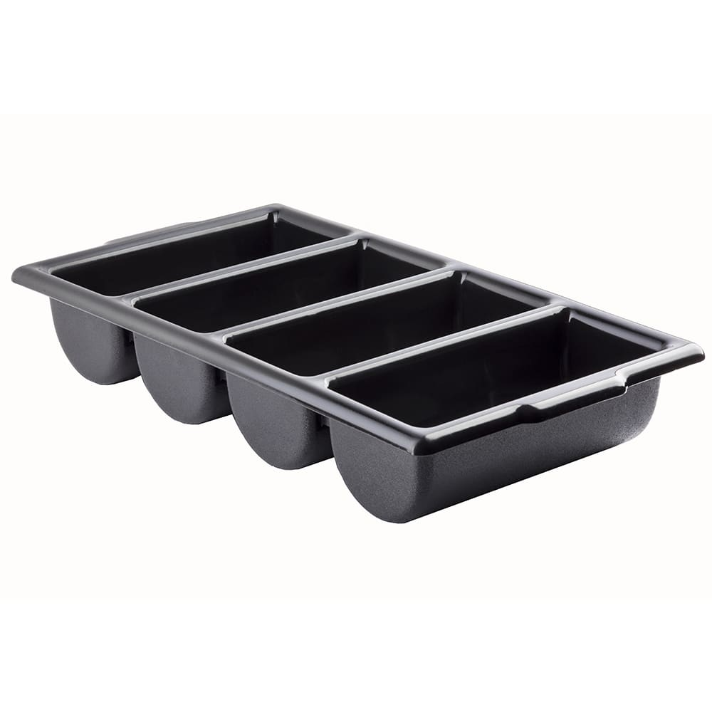 Tablecraft 1524B Cutlery Bin, 4 Compartment, Black