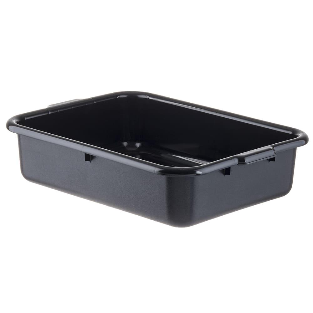 "Tablecraft 1529B Bus Tote Box, 21 1/4 x 15 3/4 x 5"", Handles, Black"