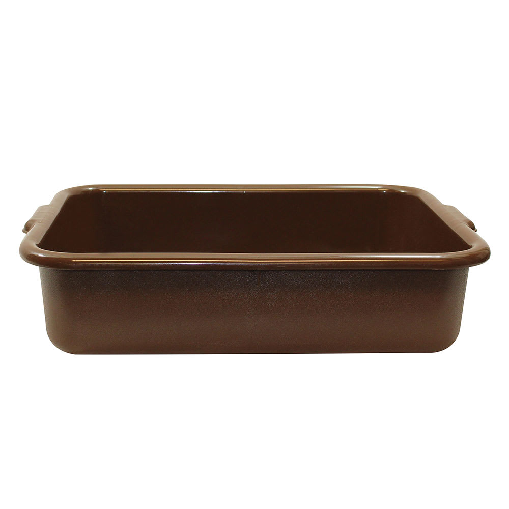 "Tablecraft 1529BR Bus Tote Box, 21 1/4 x 15 3/4 x 5"", Handles, Brown"