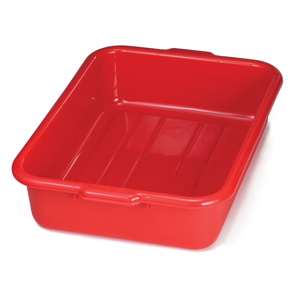 """Tablecraft 1529R Polyethylene Stackable Tote Box, 21.25 x 15.75 x 5"""", Red"""