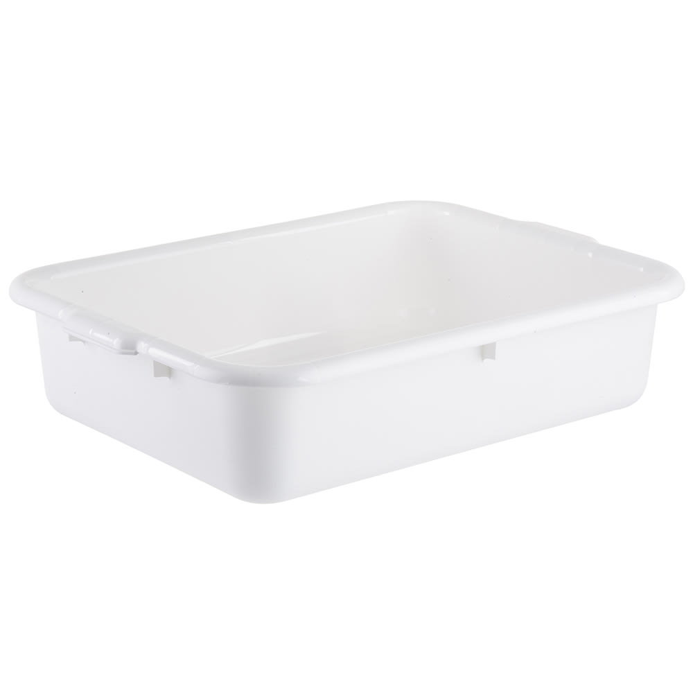 "Tablecraft 1529W Polyethylene Stackable Tote Box, 21.25 x 15.75 x 5"", White"
