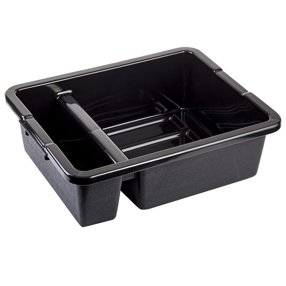 Tablecraft 1547B Divided Tote Box w/ Reinforced Handles, Stackable, Polyethylene, Black