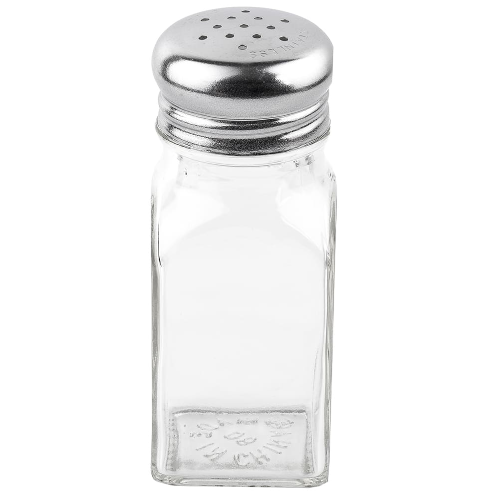 "Tablecraft 154S&P-2 4"" Shaker forSalt/Pepper - Metal Lid, Square"