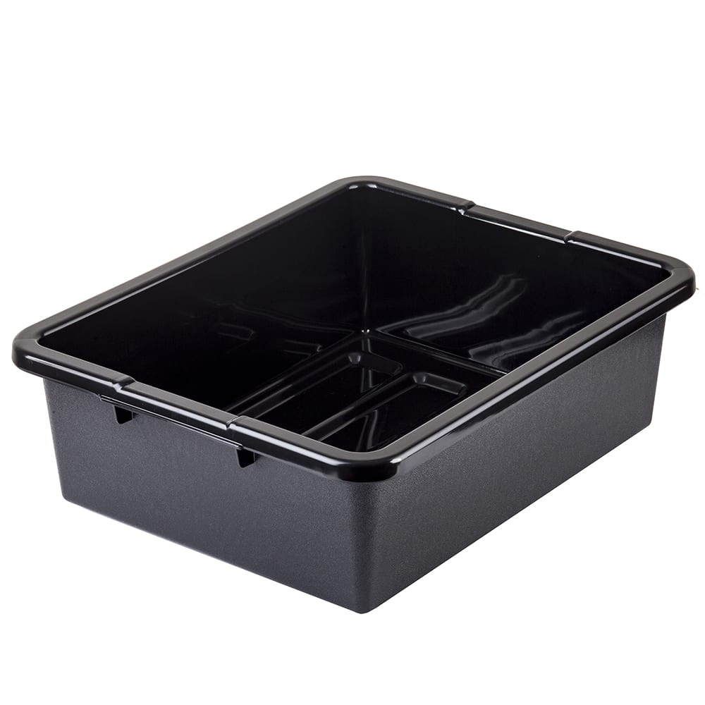 "Tablecraft 1557B Tote Box, 22 x 15 x 7"", Polyethylene, Stackable, Black"