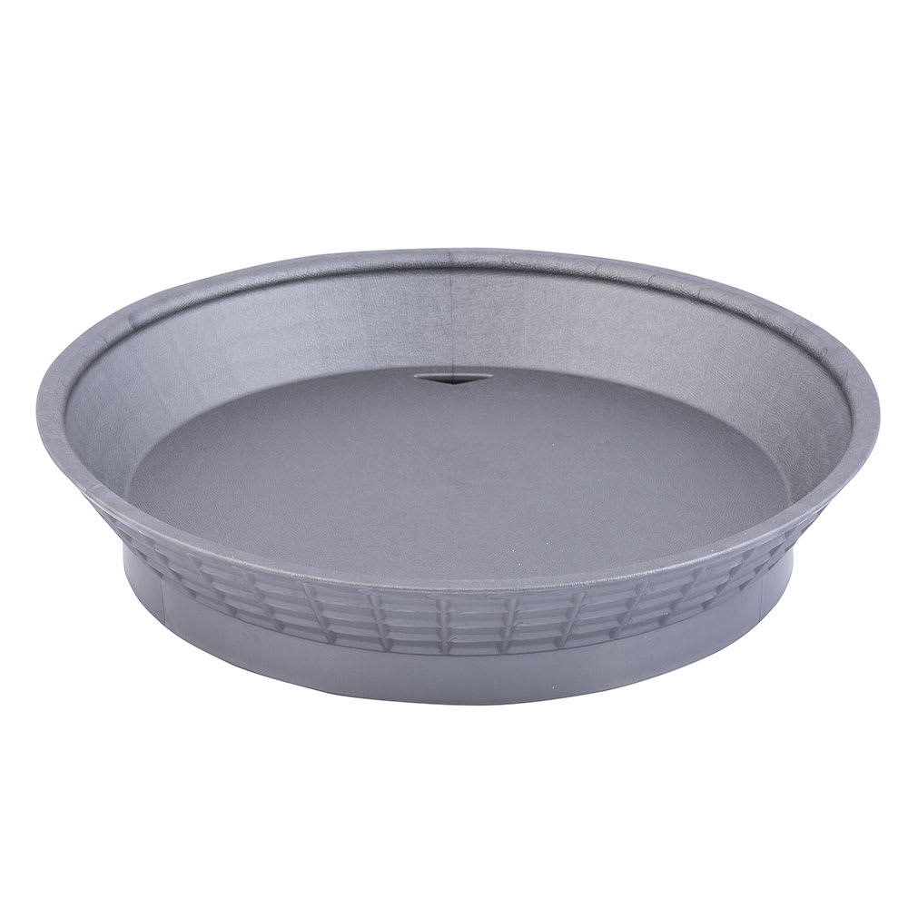 "Tablecraft 15759GM 9"" Round Platter Basket with Base - Polypropylene, Gunmetal"