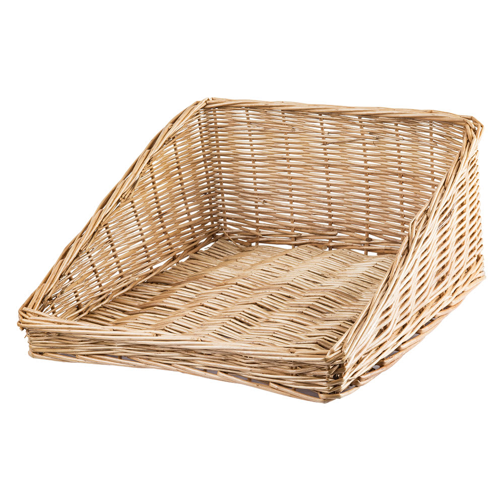 "Tablecraft 161716 Willow Basket, 19 x 15 1/2 x 2"" Front, 7 1/2"" Back, Angled"
