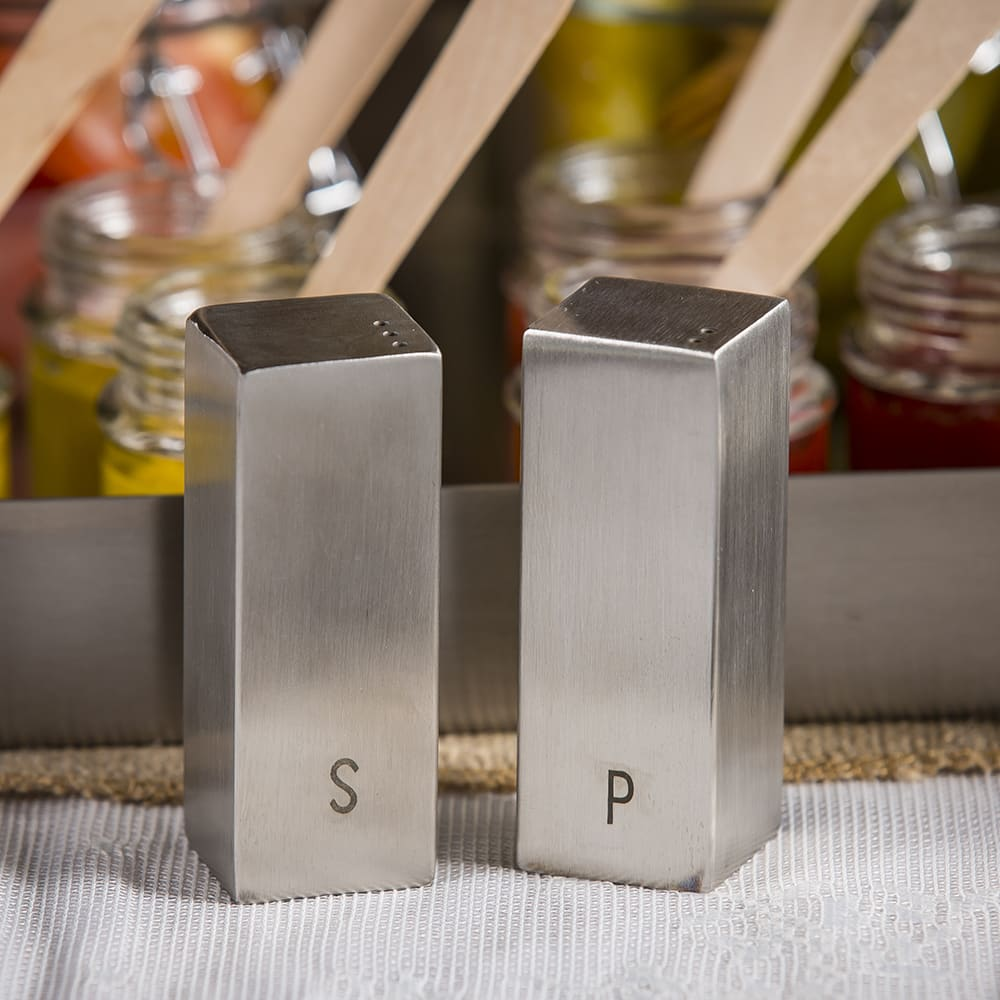 "Tablecraft 167 3"" Salt & Pepper Shaker Set, Square"