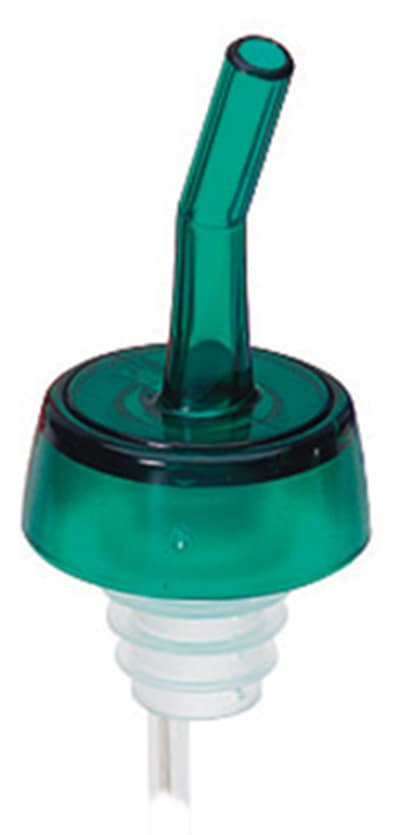 Tablecraft 1813 Free Flow Whiskey Pourer, Plastic, Red Spout, Black Collar