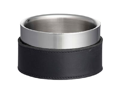 """Tablecraft 2020 5"""" Wine Coaster - Stainless & Black Leather"""