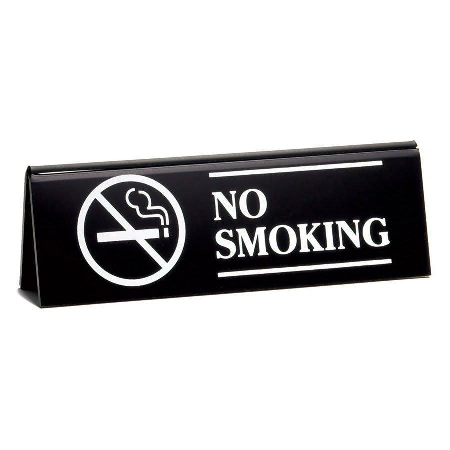 "Tablecraft 2060B ""No Smoking"" Table Tent Sign - 2"" x 6"", Black"
