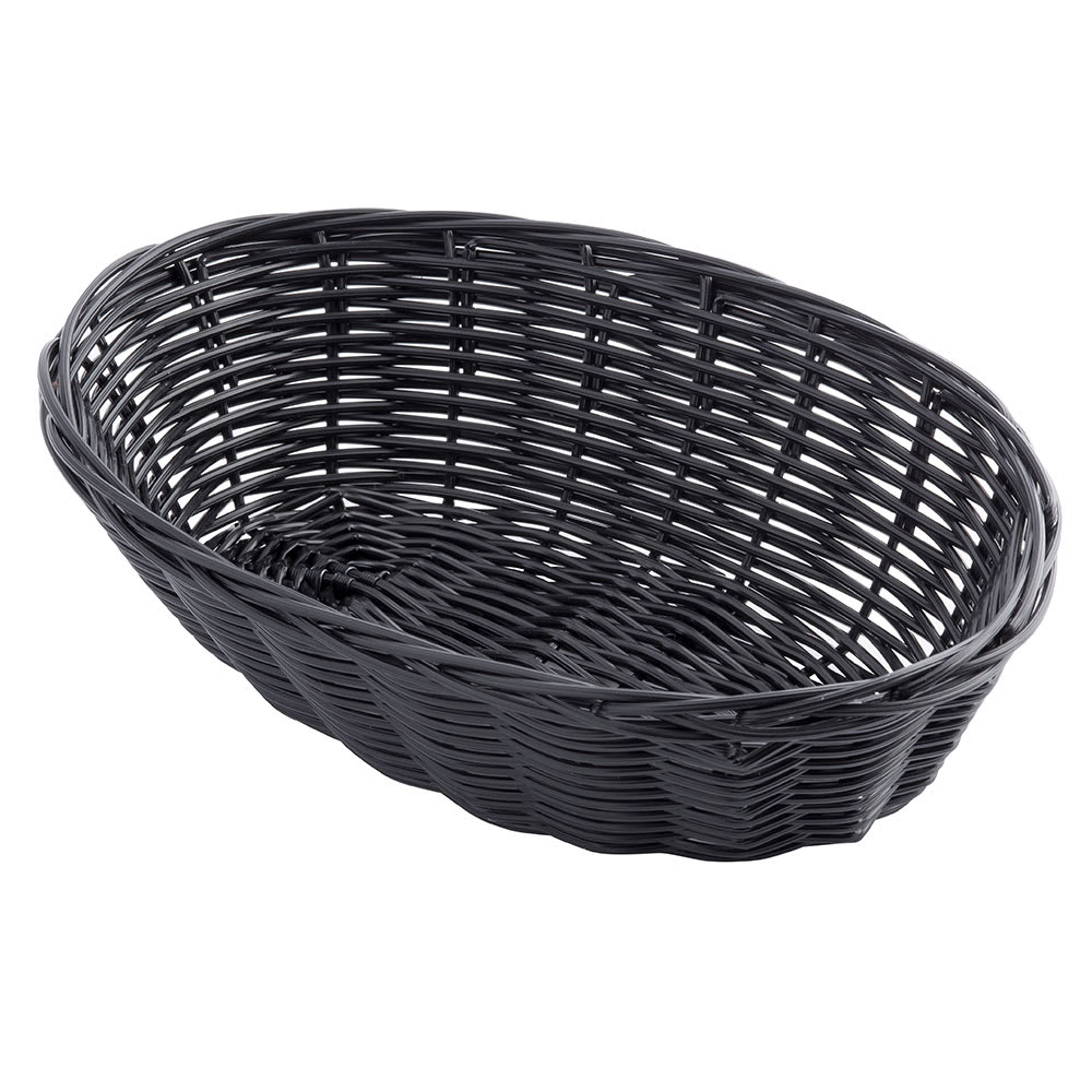 "Tablecraft 2474 Handwoven Basket, 9 x 6 x 2-1/2"", Polypropylene Cord, Black"