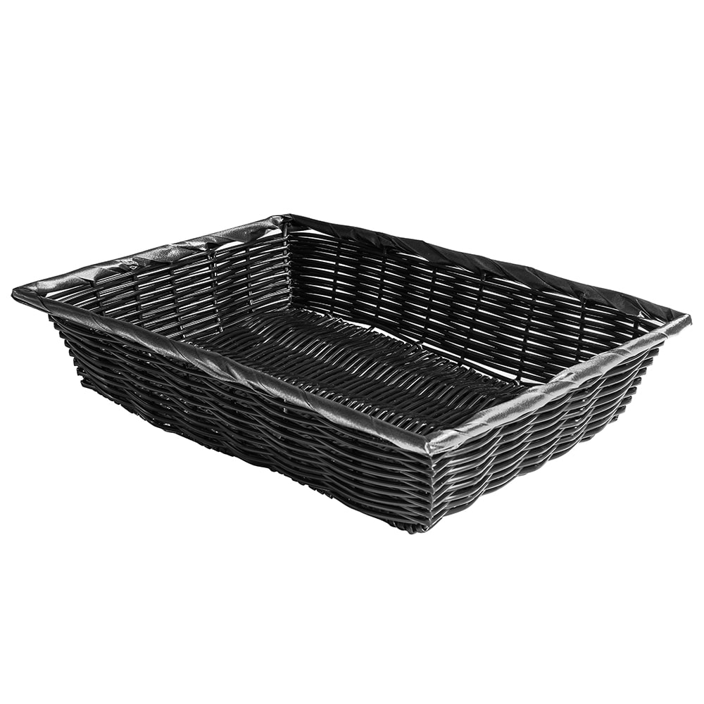 "Tablecraft 2488 Rectangular Handwoven Basket, 14 x 10 x 3"", Poly, Black"