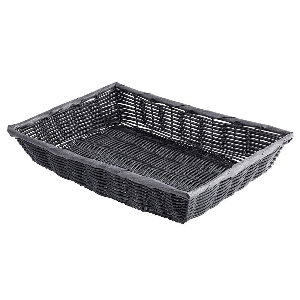 "Tablecraft 2489 Handwoven Rectangular Basket, 16 x 11.5 x 3"", Poly, Black"