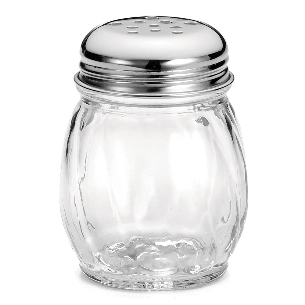 Tablecraft 260-1 6 oz Cheese Shaker, Swirled Glass, Chrome Plated Perforated Top