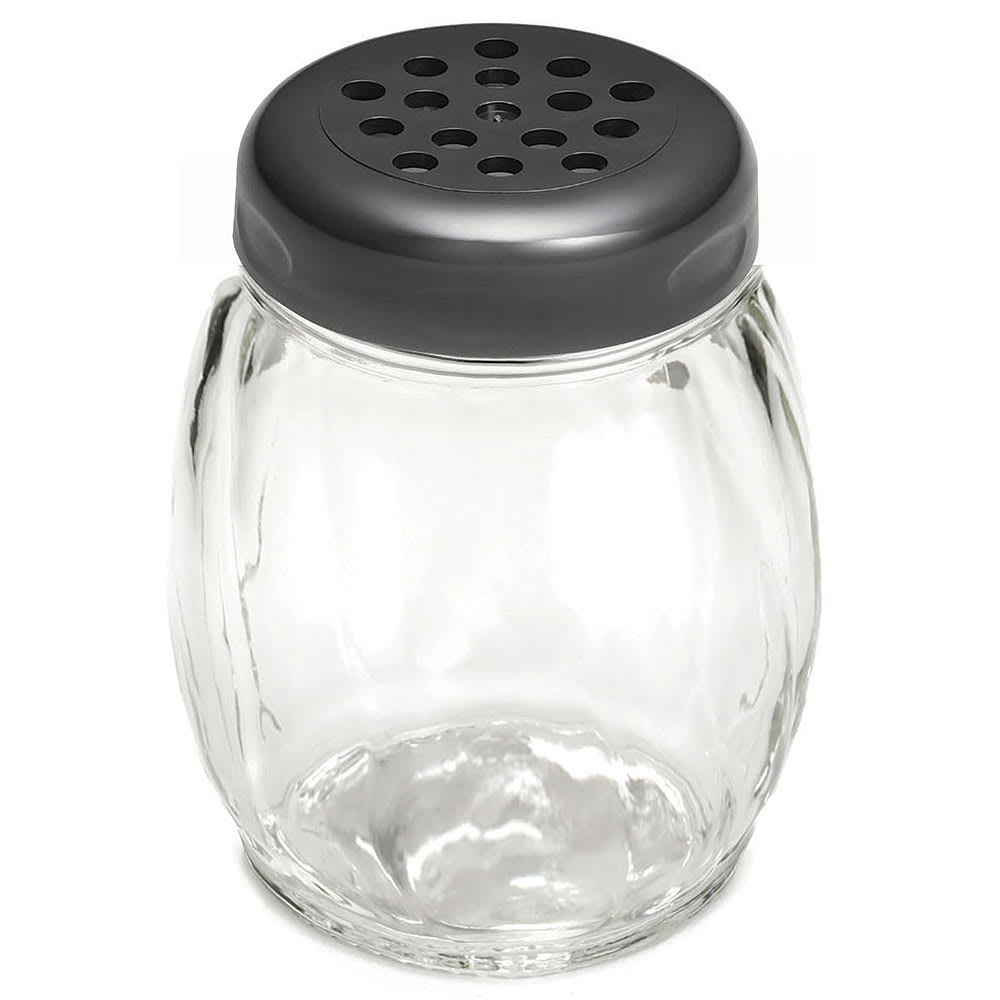 Tablecraft 260BK 6 oz Swirl Glass Shaker w/ Perforated Plastic Top, Black