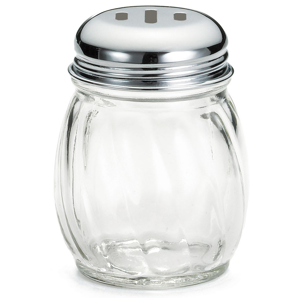 Tablecraft 260SL-1 6-oz Swirl Glass Cheese Shaker w/ Slotted Top, Chrome
