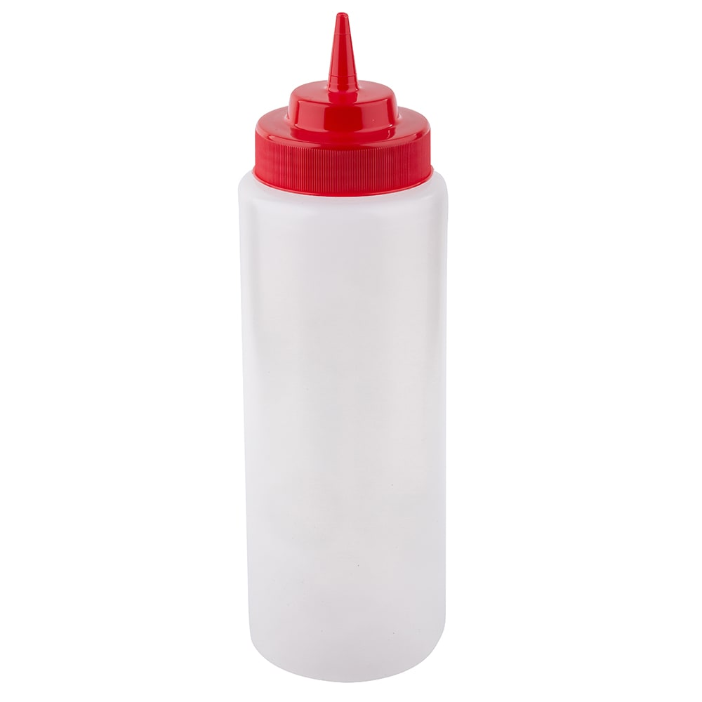 Tablecraft 3263K 32 oz Wide Mouth Squeeze Dispenser, Polyethylene, Red Top, Natural